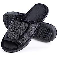 DL Adjustable Mens Slippers Memory Foam, Open Toe House Slippers for Men Indoor Outdoor, Breathable Slide Bedroom…