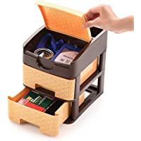Sindhu Liza Tabloid Multipurpose Plastic Drawer System Organizer Rack Home and Kitchen Extra Compart on top