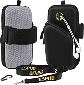 Phone Arm Bag Gym Phone Holder for Arm, iPhone Pouch iPhone Arm Case for iPhone 12 Pro, 11 Pro XS/XR/8/7/6 Plus,Samsung Galaxy/LG. Neoprene Wrist Pouch for Running with Lanyard and Carabiner Clips