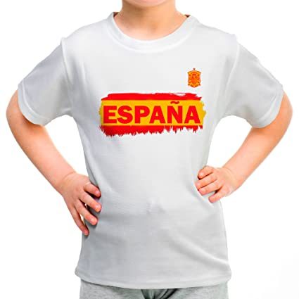 Lolapix Camiseta España Blanca Personalizada con Nombre y número. Camiseta de algodón. Regalo para