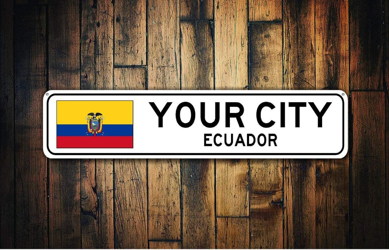 Señal de metal Mengliangpu8190 de 4 cm x 18 pulgadas, con la bandera de Ecuador, recuerdo de Ecuador, regalo de Ecuador, recuerdo de país, recuerdo de la ciudad, recuerdo de la ciudad, de aluminio