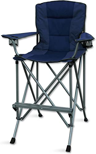 RMS Outdoors Extra Tall Folding Chair – Bar Height Director Chair for Camping, Home Patio and Sports – Portable and Collapsible with Footrest and Carrying Bag – Up to 300 lbs Weight Capacity Blue