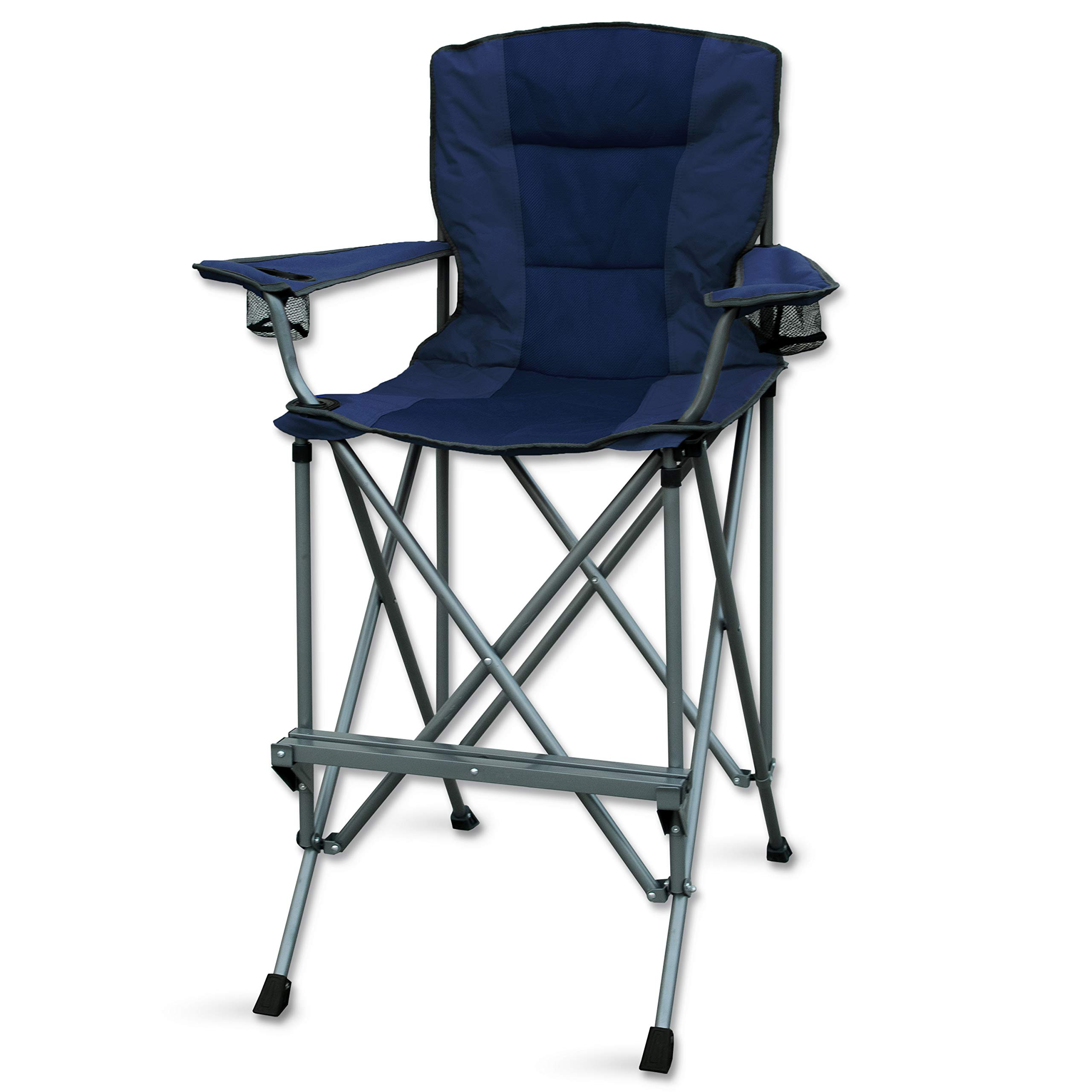 RMS Outdoors Extra Tall Folding Chair - Bar Height Director Chair for Camping, Home Patio and Sports - Portable and Collapsible with Footrest and Carrying Bag - Up to 300 lbs Weight Capacity (Blue) by RMS Royal Medical Solutions, Inc.