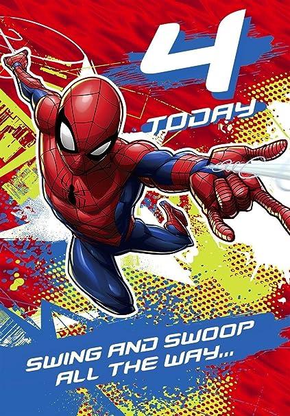 Spiderman 4th Tarjeta de cumpleaños marvel: Amazon.es ...