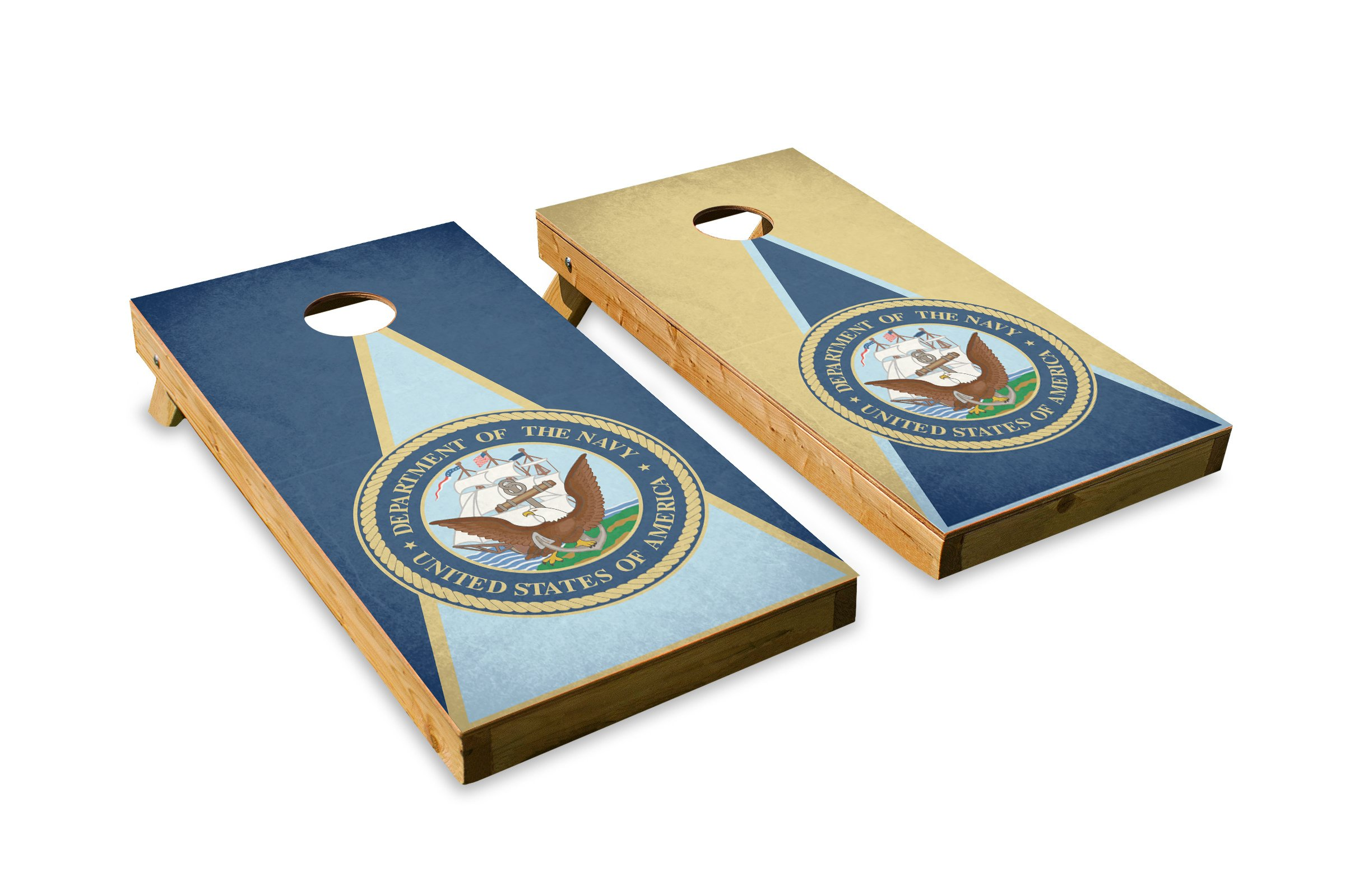 Navy - Military Service - Cornhole Crew - ACA Regulation Size Cornhole Board Set