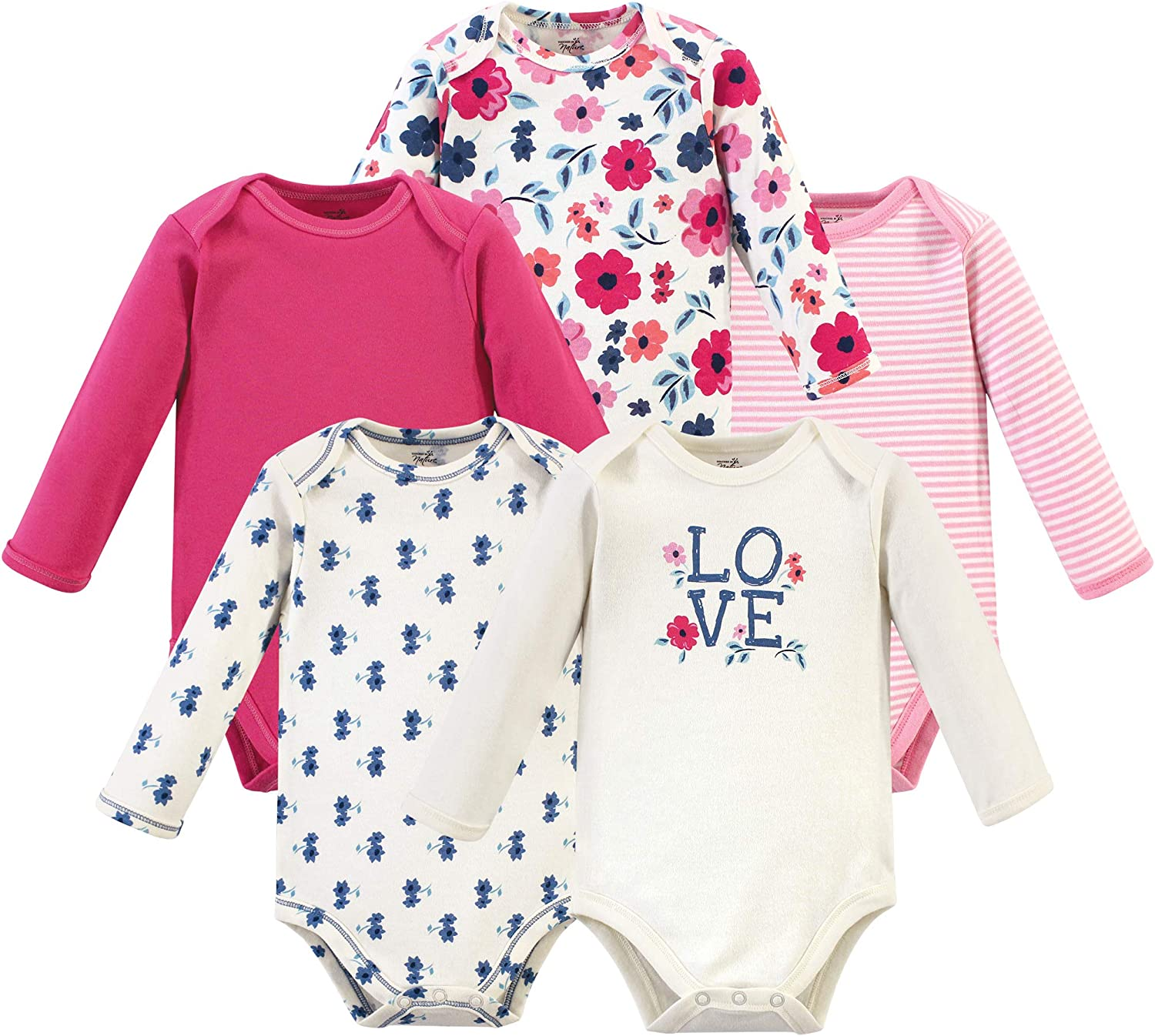 Touched by Nature Baby Girls Organic Cotton Bodysuits, Garden Floral, 6-9 Months