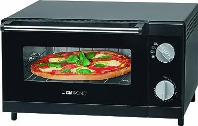 Clatronic MPO 3520 - Horno sobremesa especial para pizza, capacidad 12 l, 1000 W, color negro
