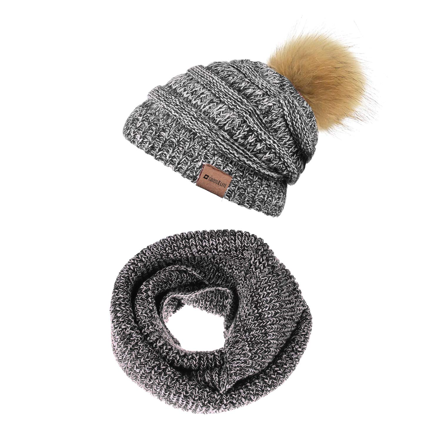 Black Whites 2 Pack Beanie Hats for women with Pom Pom  Warm, Soft Knit Beanie, Thick Slouchy Knit Skull Cap