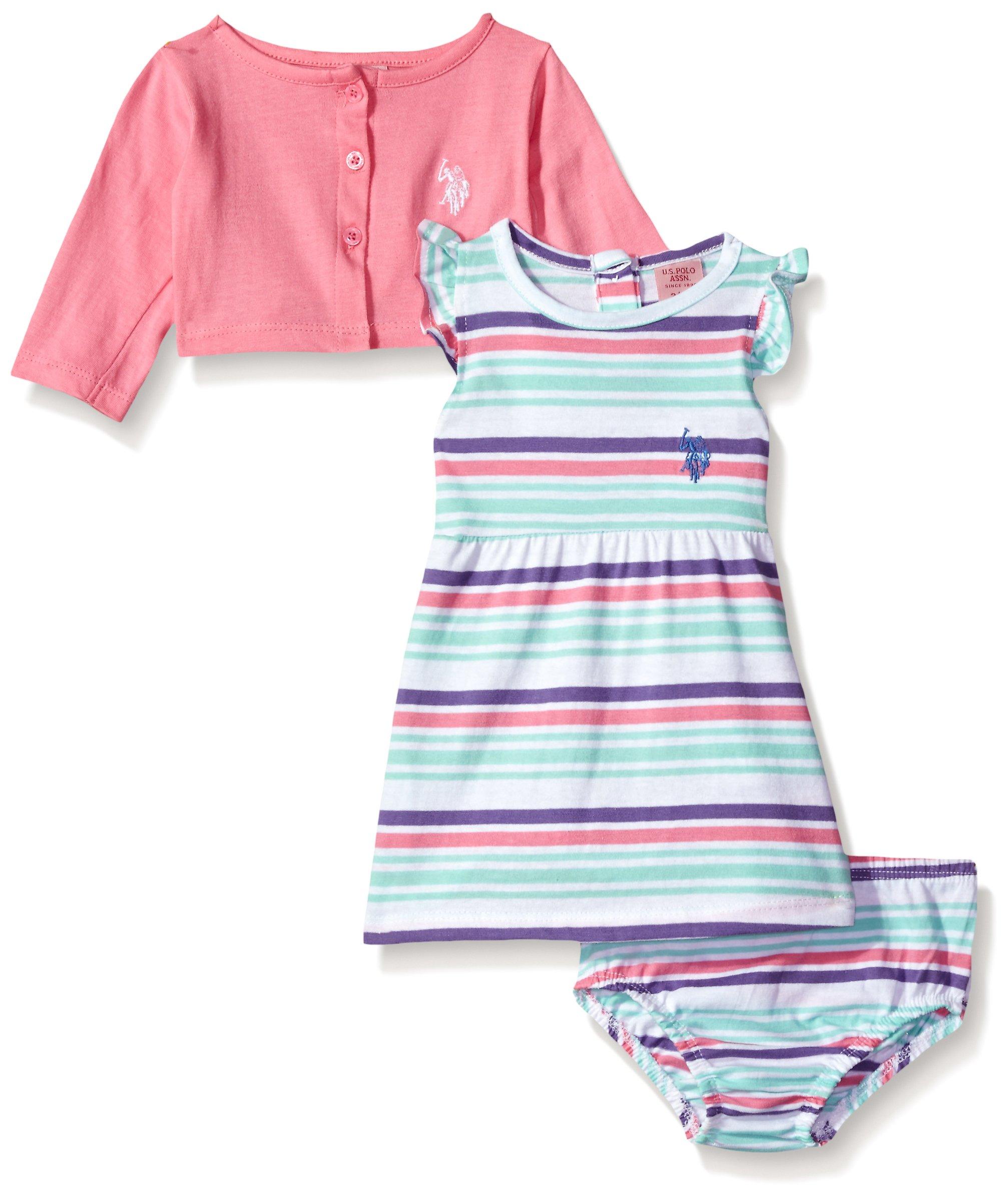 U S Polo Assn Baby Girls Dress with Sweater Jacket Short