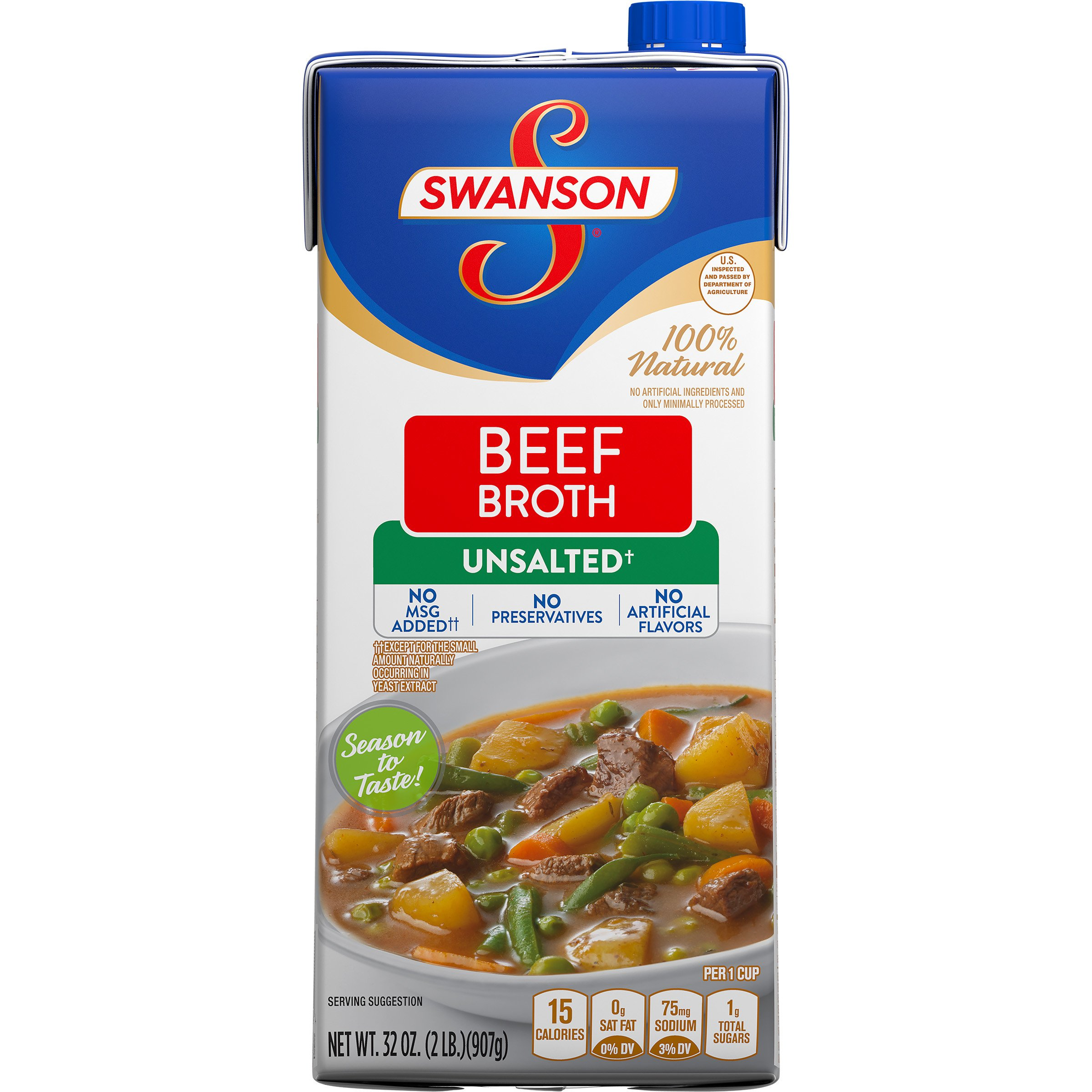 Swanson 100% Natural Unsalted Beef Broth, 32 oz.