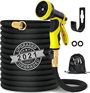 Expandable Garden Hose, 100ft Strongest Flexible Water Hose, 9 Functions Sprayer with Double Latex Core, 3/4