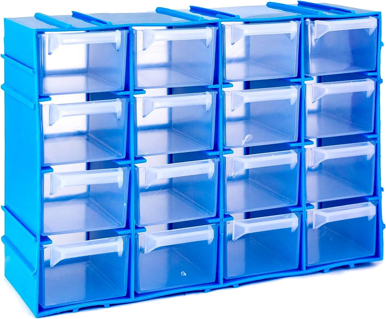 Media Wave Store/® Ideal para mantener organizada sus peque/ñas herramientas Organizador//Gavetero Simply Box Practico organizador con 16 cajones Fabricado en material pl/ástico r/ígido