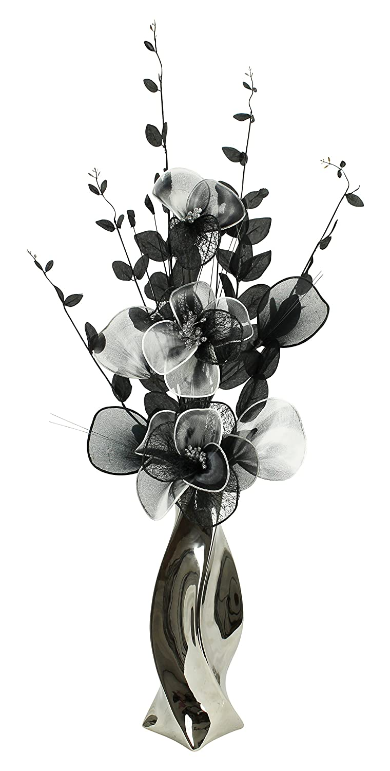 Silver Vase with Black and White Artificial Flowers, Ornaments for Living Room, Window Sill, Home Accessories, 80cm Flourish 722722
