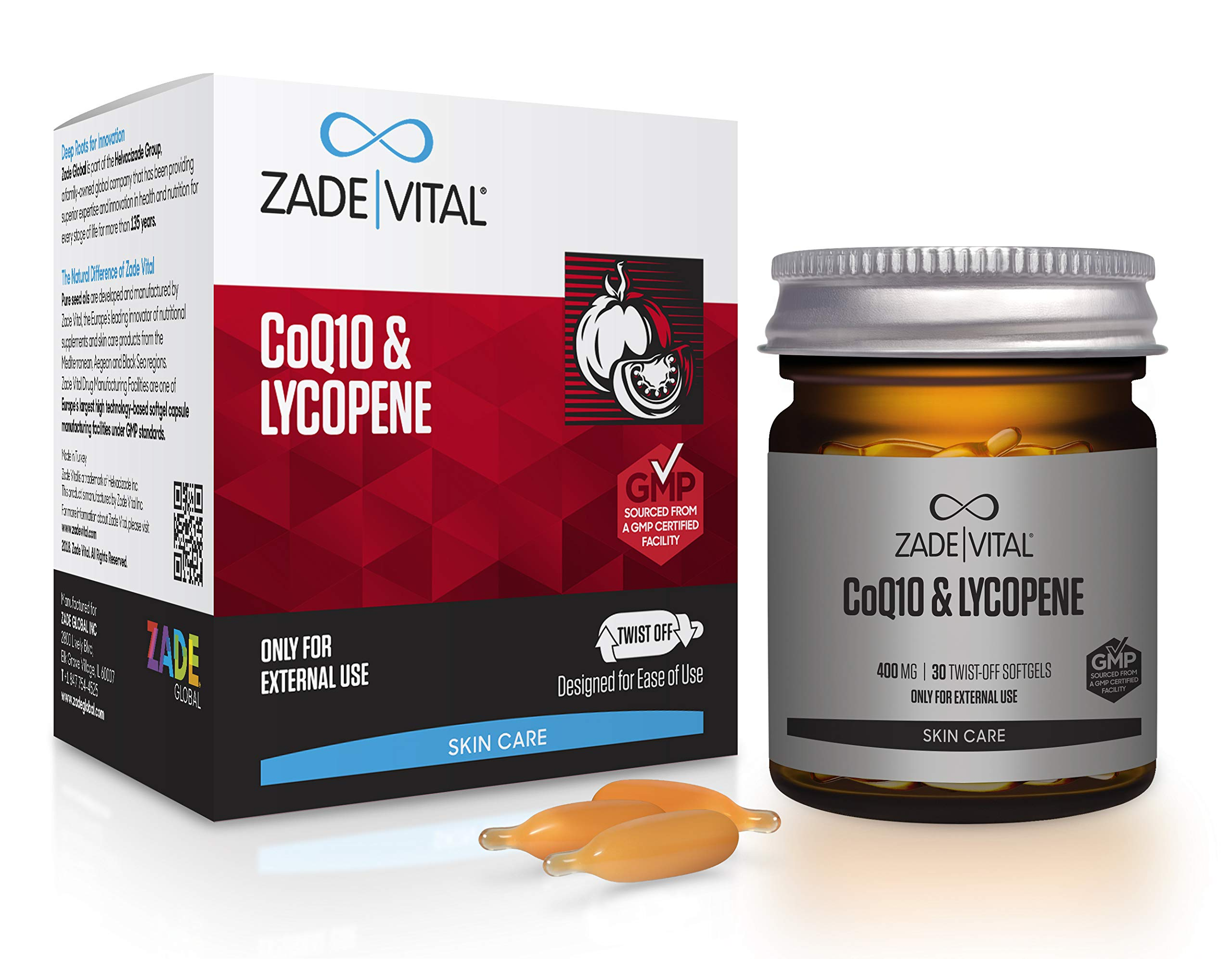 Zade Vital Co-Q10 & Lycopene- Supports Antiaging & Works Great As Cosmeceuticals/Do It Yourself Makeup, Twist-Off 30 Softgels, Easy to Use, 100% Cold Press, Non GMO, GMP, 1 Month Supply