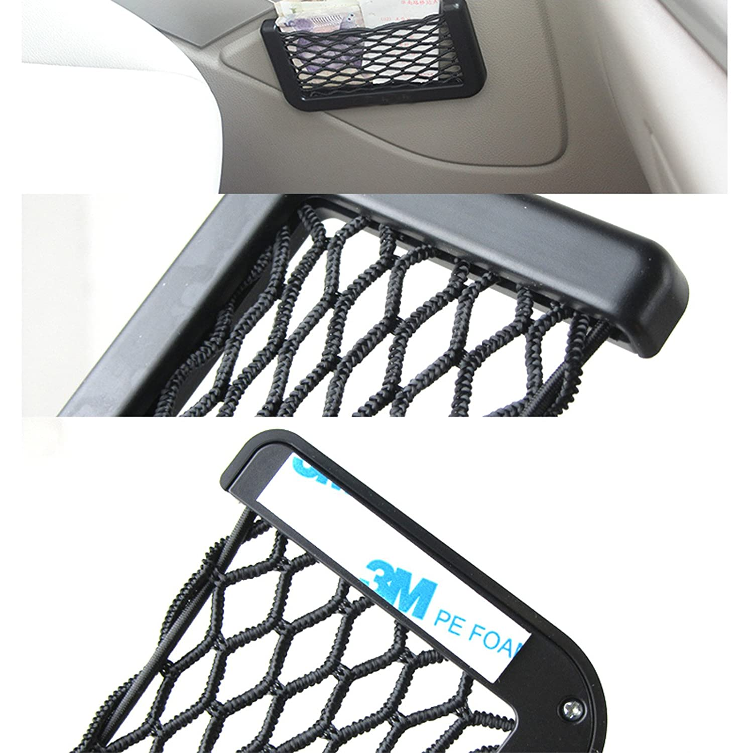 King Universal Car Seat Side Storage Nets Resilient Pocket Organizer adhesive box auto accessories pouch GPS Phone Holder 20x8cm