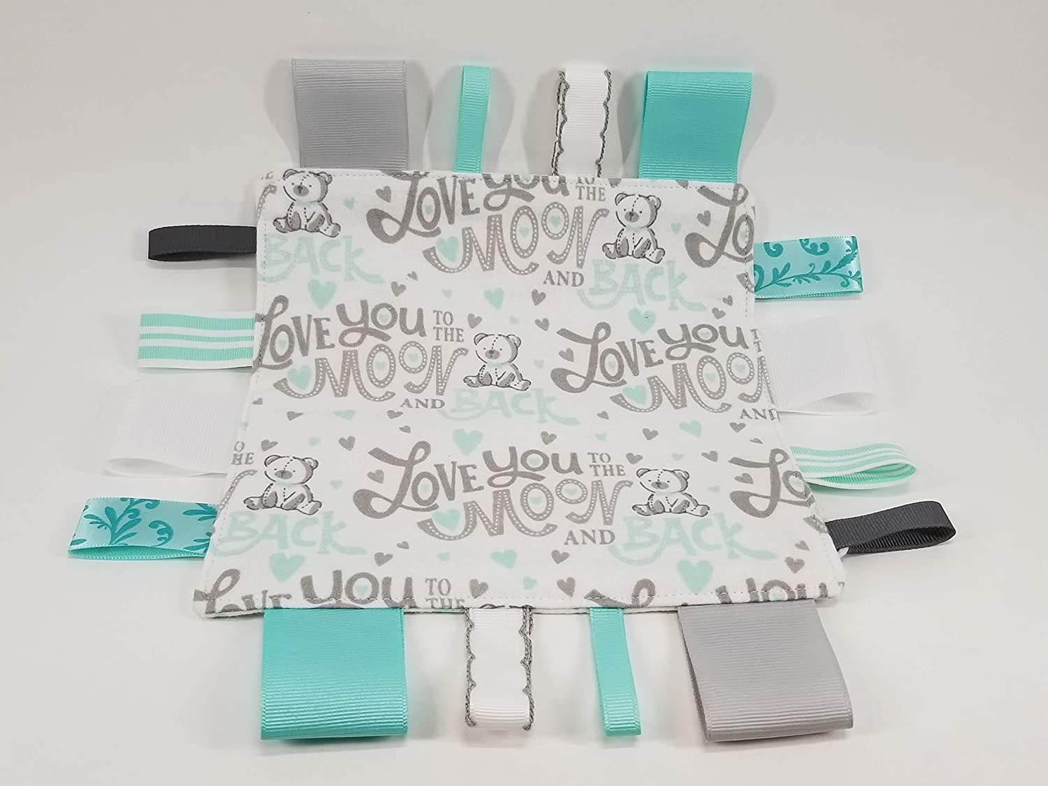 I love you to the moon and back Tag and Crinkle Square
