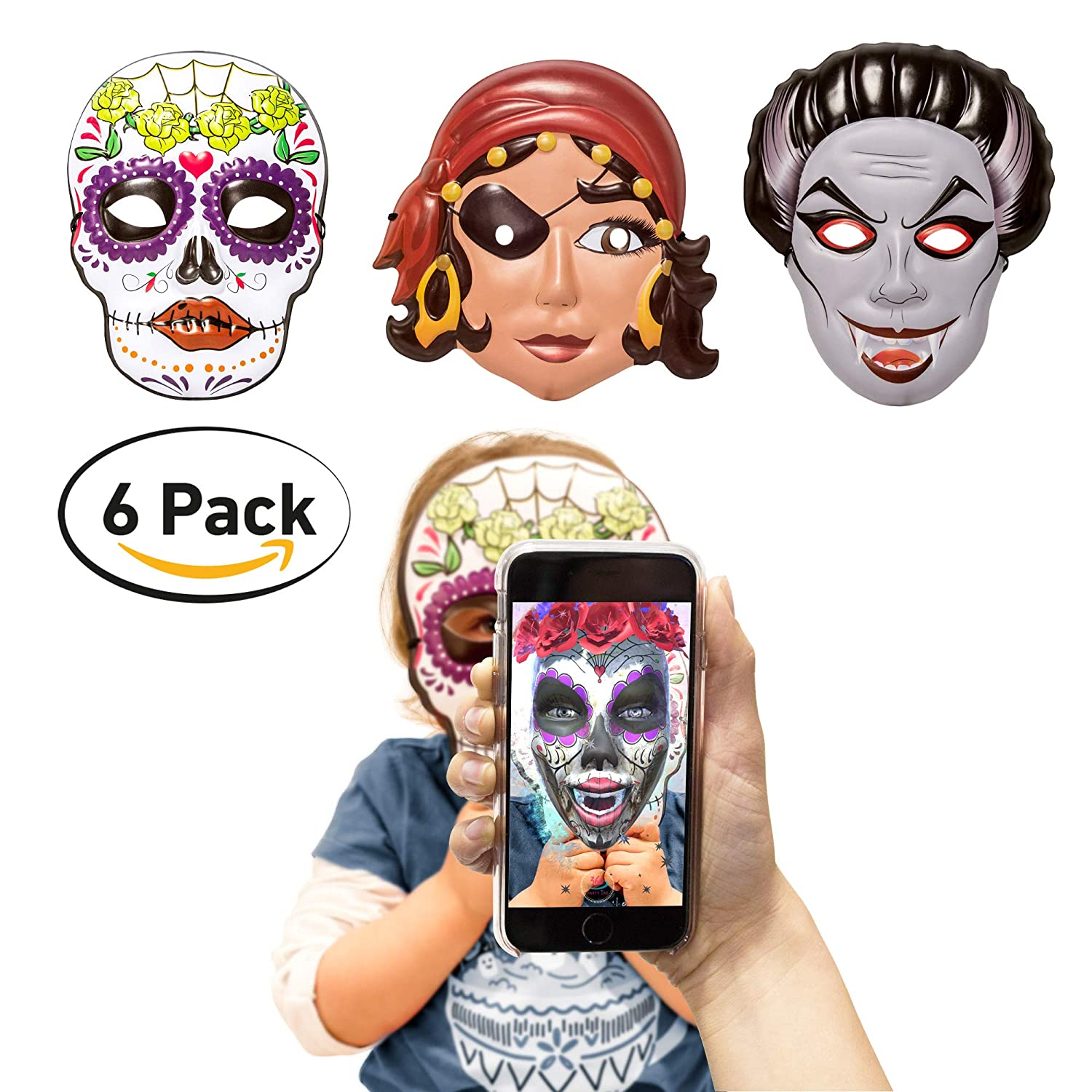 360 Party Lab Kids Girl Masks Augmented Reality 6 Pack 2 Pirate 2 Vampire 2 Katrina Skull
