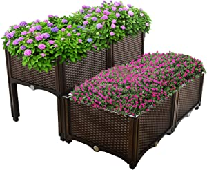 netuera Plant Grow Box Elevated Raised Garden Bed Kits Fit for Flower Vegetable Grow Brown 4-Piece Set