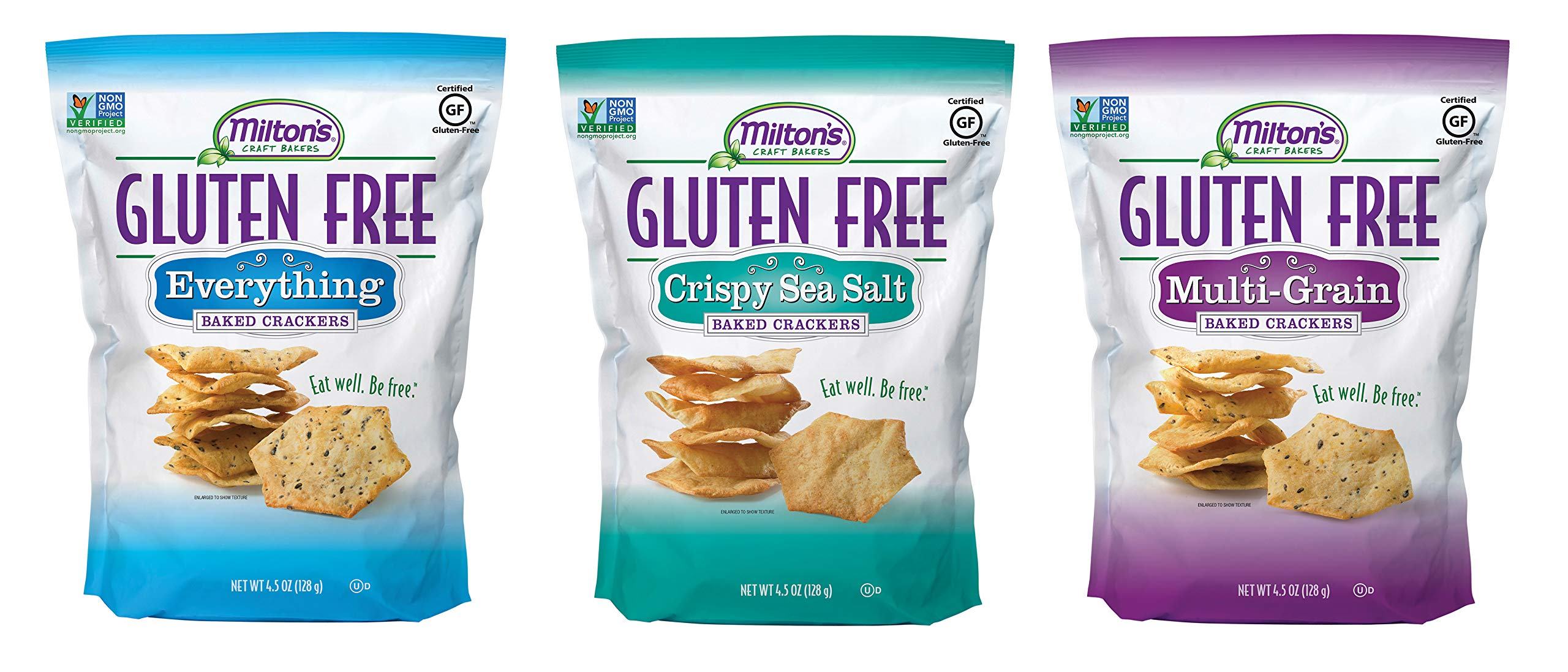Milton's Gluten Free Baked Crackers, 3 Flavor Variety Bundle. Crispy and Gluten-Free Baked Grain Crackers (Crispy Sea Salt, Everything, and Multi-Grain, 4.5 ounce) by Milton's Craft Bakers
