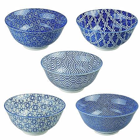 TOKYO design studio Nippon Blue Tayo Bowl 15 5 x 7 cm, Blue/White