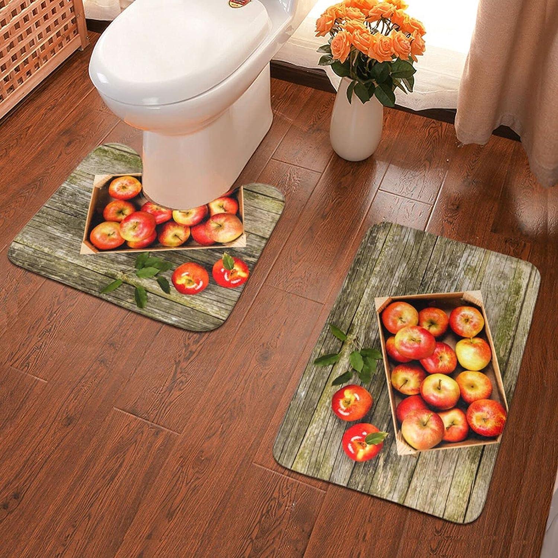 Box of Apples in On Wood Floor(2) Bath Mat 2 Piece Soft Pads Bath Mat + Water Absorption Contour