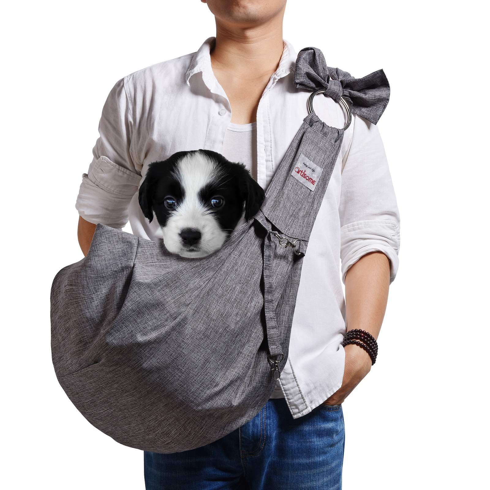 artisome Reversible Medium Dogs & Cats Sling Carrier Bag Suitable for 8-15 lbs Purse Waterproof Travel Hand-Free Pet Backpack (Grey, Adjustable)