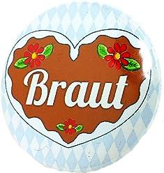 Braut Button - Lebkuchenherz Madl Anstecker Bayern JGA Junggesellinnenabschied 3,8 cm