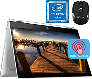"2020 Flagship HP Chromebook x360 2 in 1 Laptop 14"" HD Anti-Glare Touchscreen Intel Celeron N4000 4GB DDR4 32GB eMMC Intel UHD Graphics 600 USB-C WiFi B&O Webcam Chrome OS + iCarp Wireless Mouse"