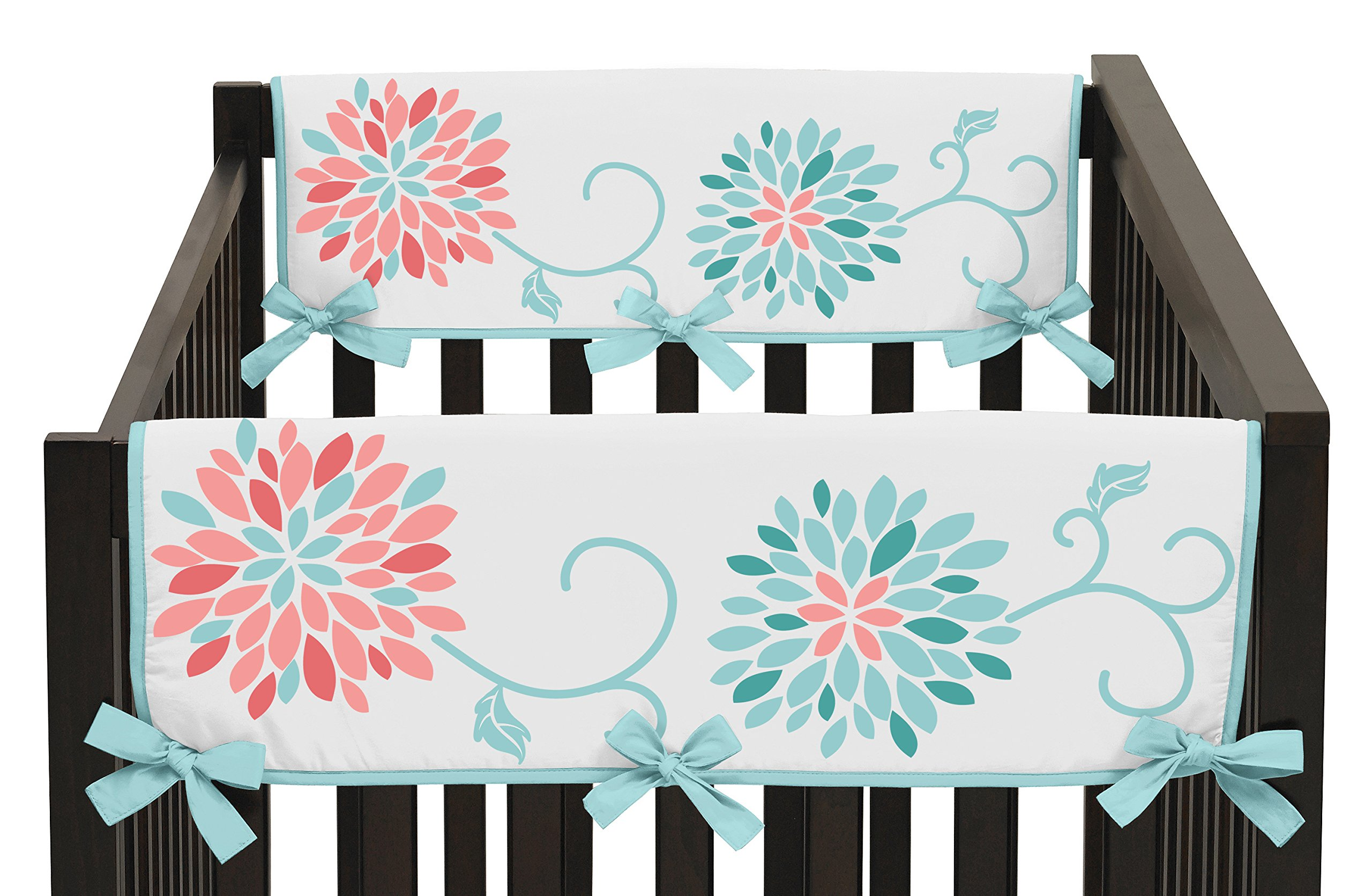 Sweet Jojo Designs Baby Crib Side Rail Guard Covers for Modern Turquoise and Coral Emma Bedding Collection by Sweet Jojo Designs