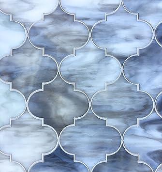 arabesque lantern 115x13 grey glass mosaic tiles wall backsplash - Arabesque Tile Backsplash