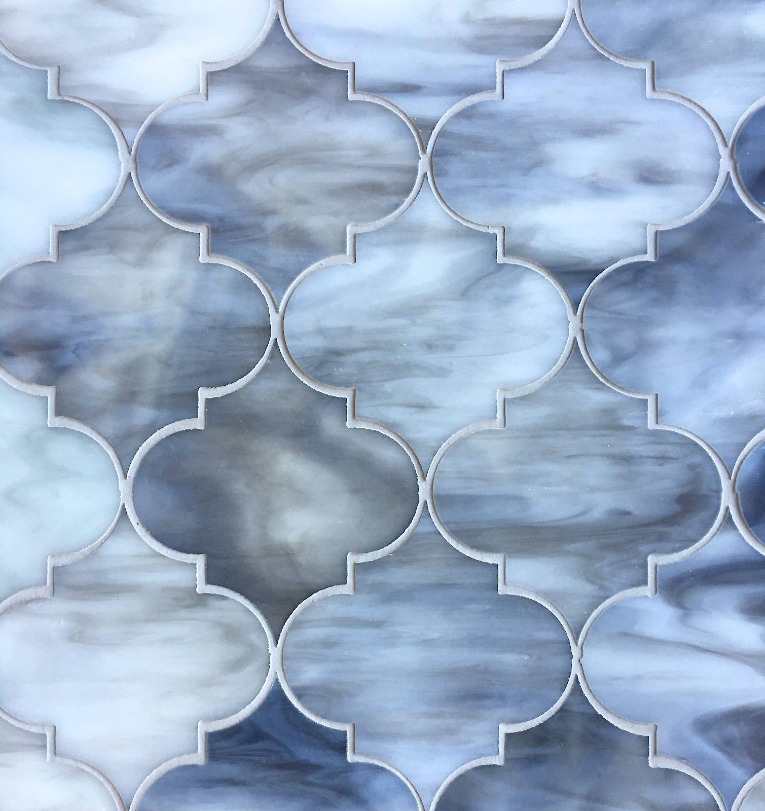 Arabesque Lantern 11.5x13 Grey Glass Mosaic Tiles Wall Backsplash