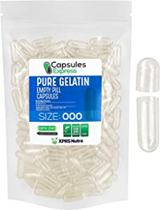 Capsules Express- Size 000 Clear Empty Gelatin Capsules 250 Count - Kosher and Halal Certified - Gluten-Free Pure Bovine Gelatin Pill Capsule - DIY Powder Filling
