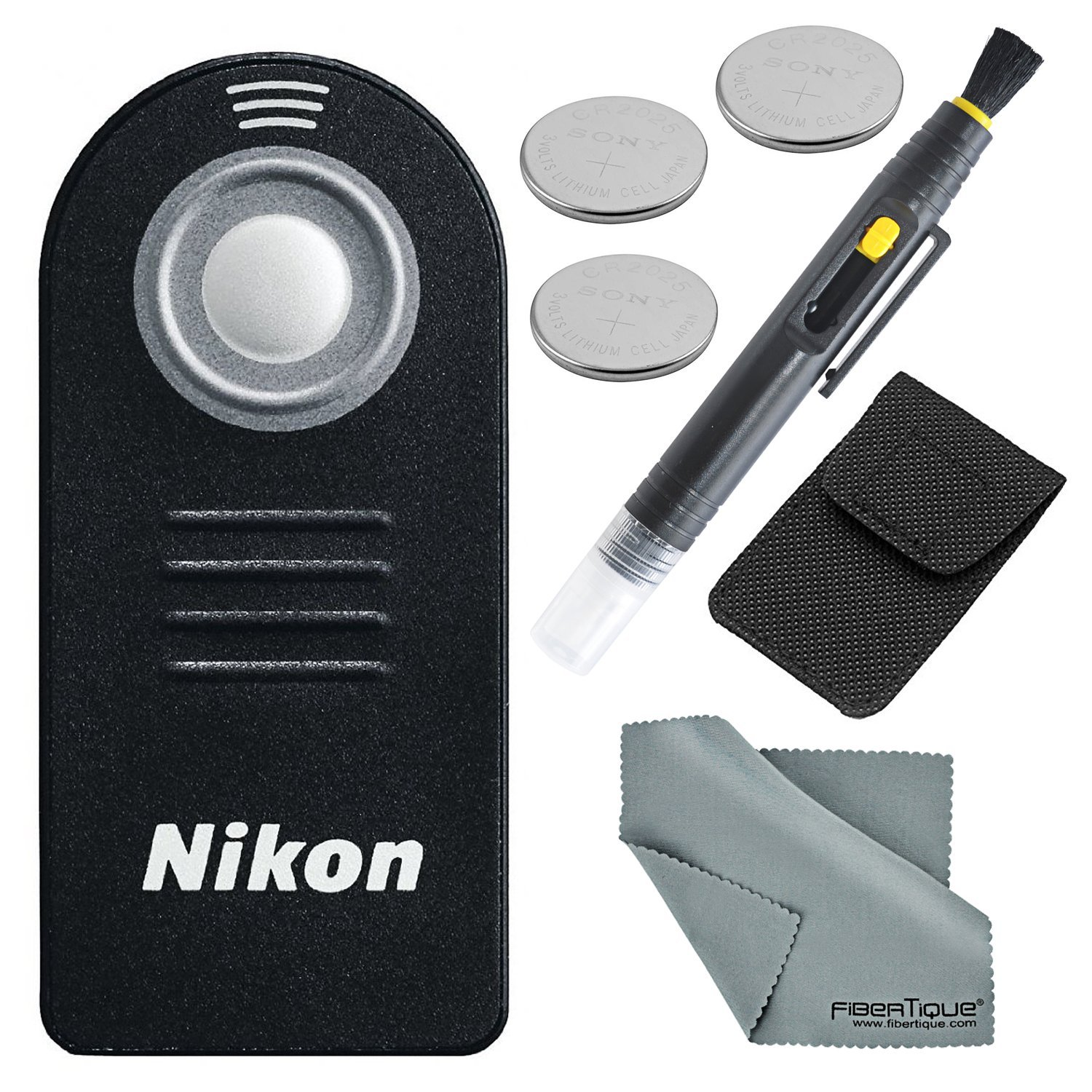 Nikon (Authentic) ML-L3 (infrared) Wireless Remote Control Bundle with 3 X Spare Battery + 2-in 1 Lens Cleaning Pen + Fibertique Cloth by Photo Savings