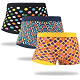 WeciBor Men's Trunks Underwear Cool Colorful Funny Novelty Cotton Soft Comfort Stretchy No Ride-Up Boxer Briefs for Men