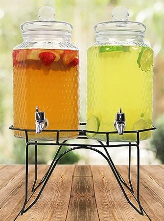 estilo hammered glass double beverage drink dispenser on stand with leak free spigot 1 gallon - Beverage Dispensers