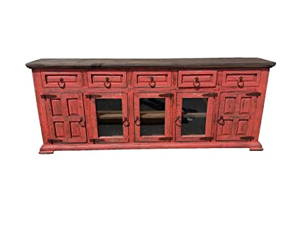 Hi End Rustic Medieval Hand Scrape TV Stand Buffet 80 Inch Long (80 Inch,