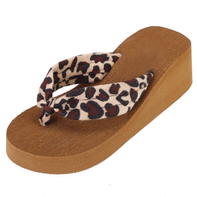 Minetom Donne Estate Casuale Leopardo Sandali Da Spiaggia Infradito Flip Flop Con Zeppa