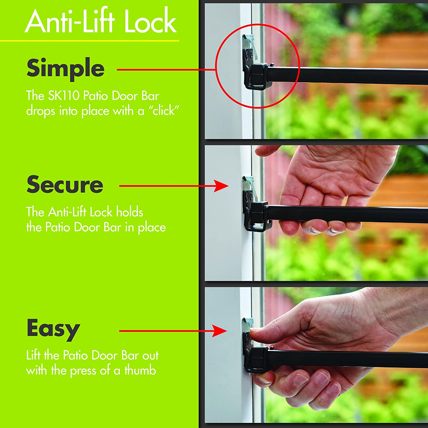 Ideal Security Inc Patio Door Security Bar With Anti Lift Lock