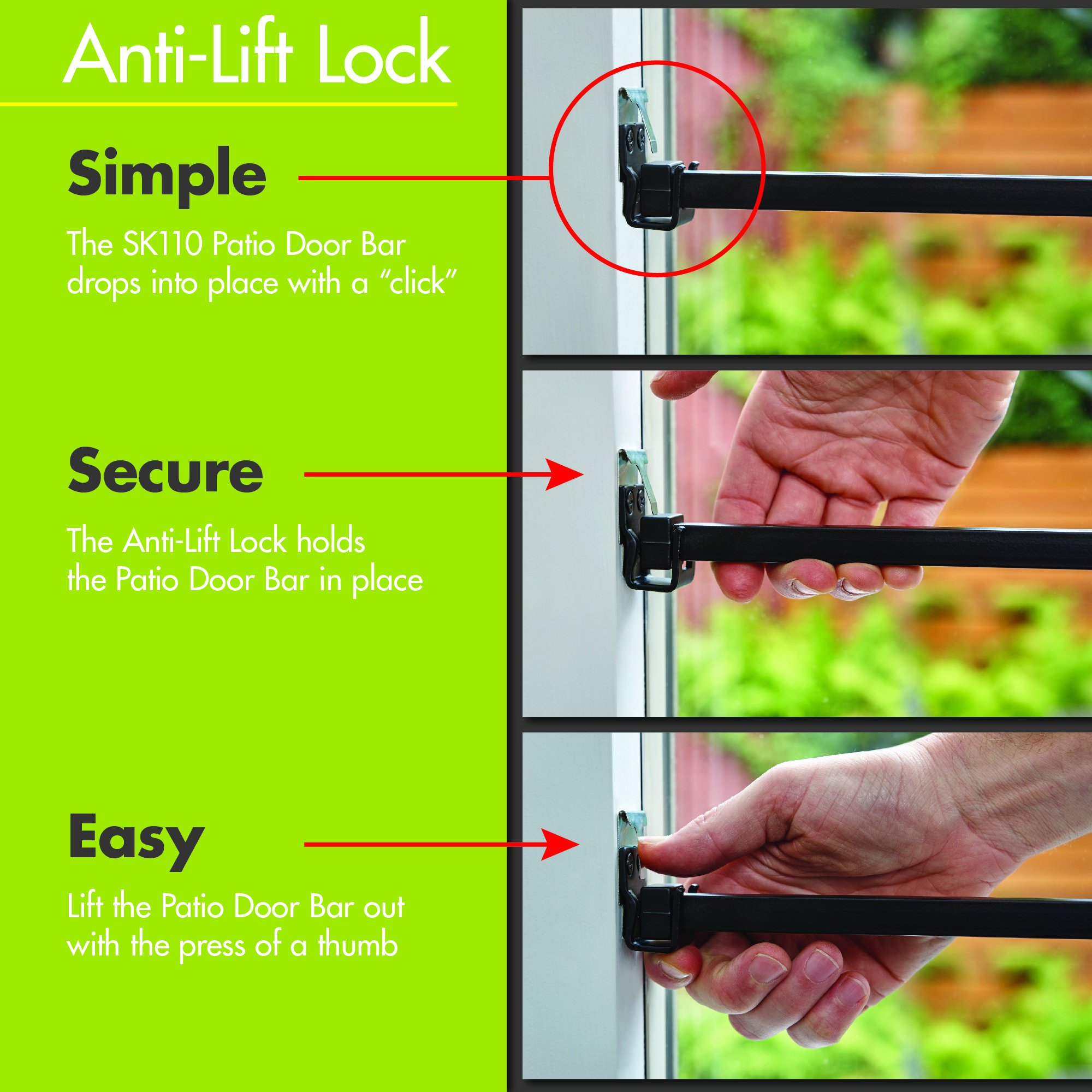 Ideal Security SK110 Patio Door Security Bar with Child-Proof Lock, Adjustable 25-48 inches for Ventilation, White by Ideal Security Inc. (Image #4)