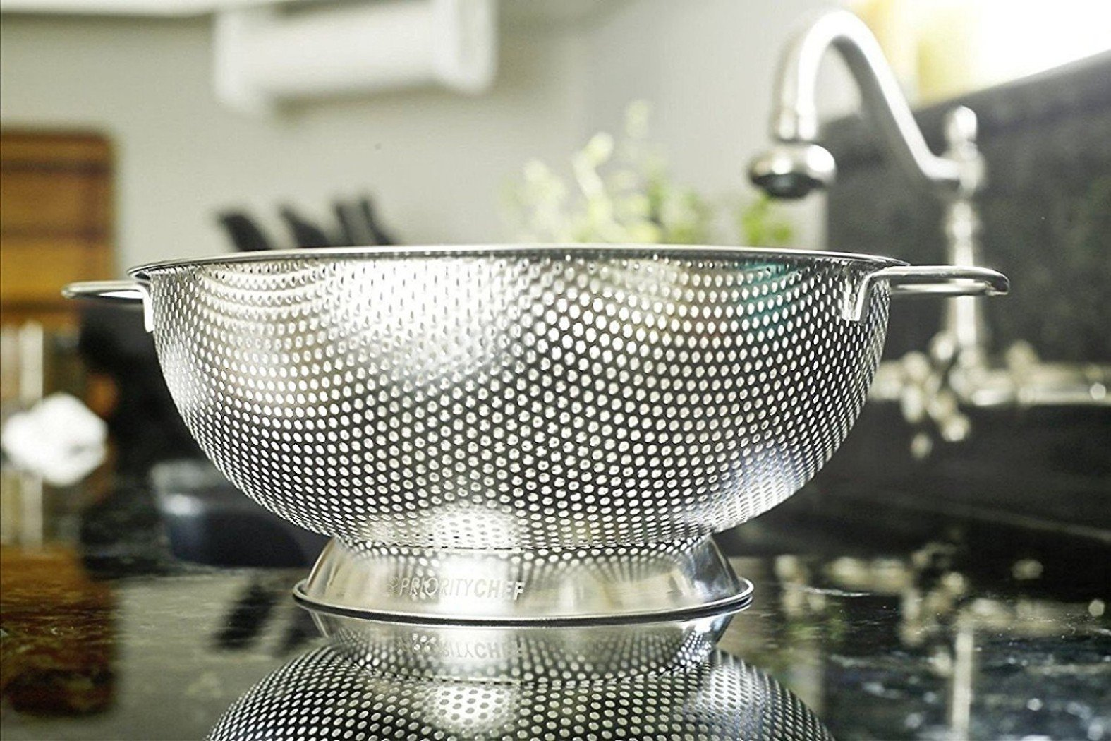 PriorityChef Colander, Stainless Steel 3 Qrt Kitchen Strainer With Large Stable Base by Priority Chef (Image #3)
