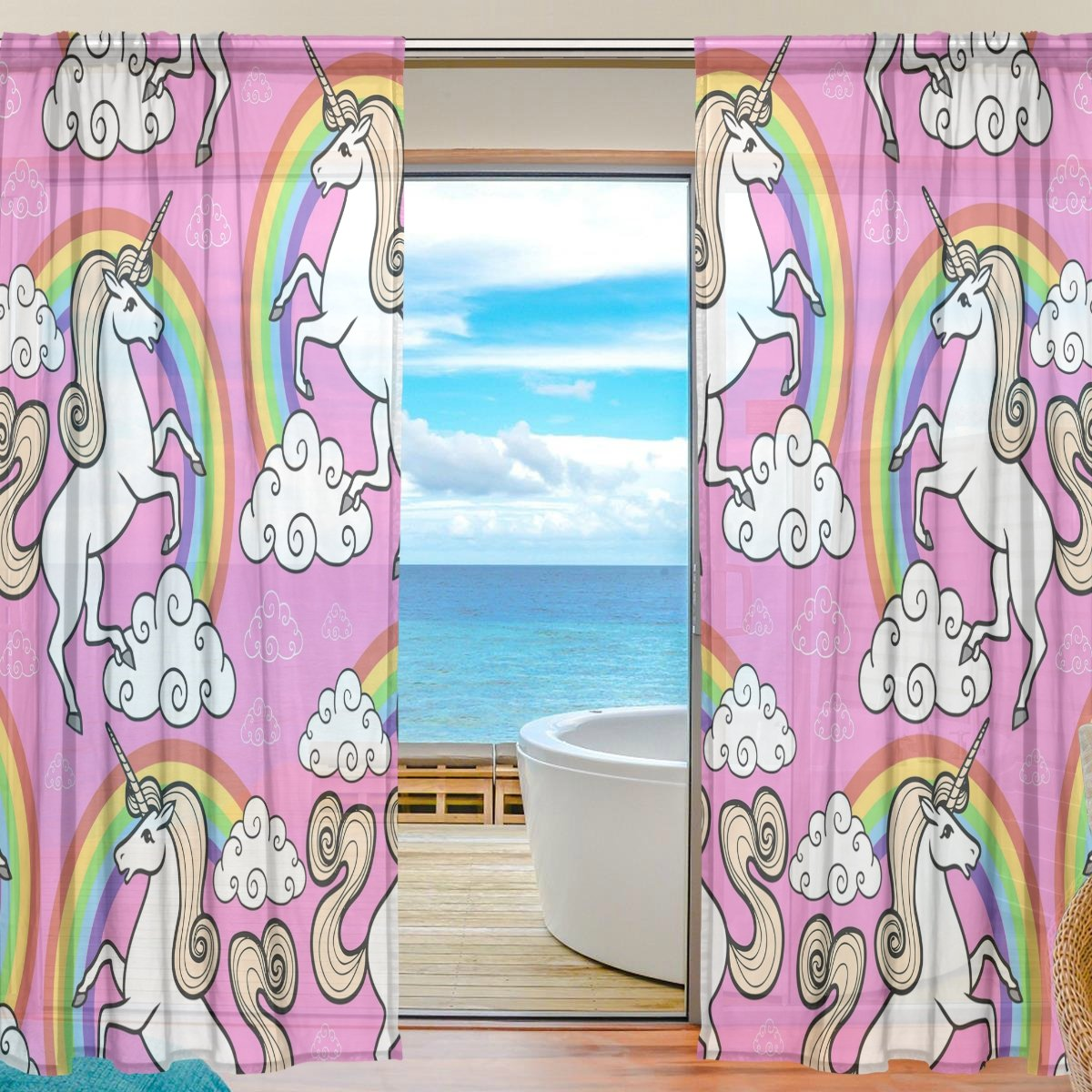 SEULIFE Window Sheer Curtain, Unicorn Animal Rainbow Star Voile Curtain Drapes for Door Kitchen Living Room Bedroom 55x84 inches 2 Panels