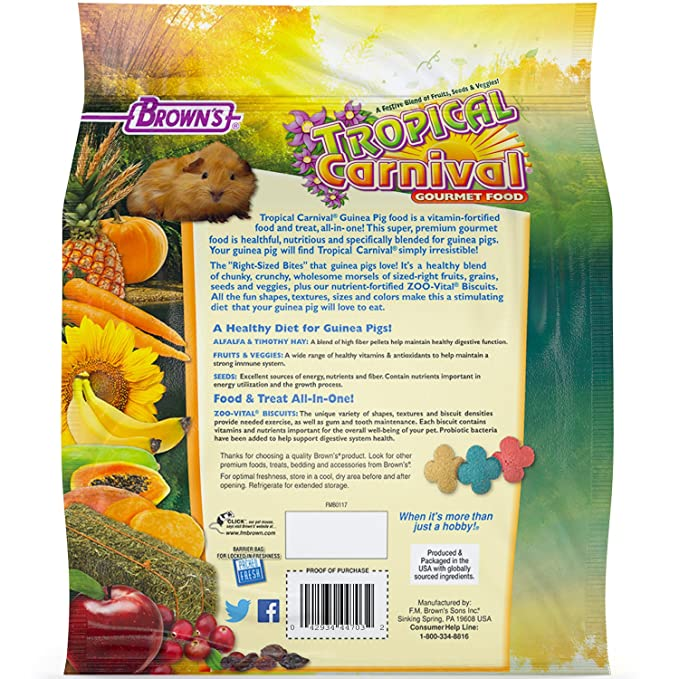 amazon com f m brown s tropical carnival guinea pig food 5 pound