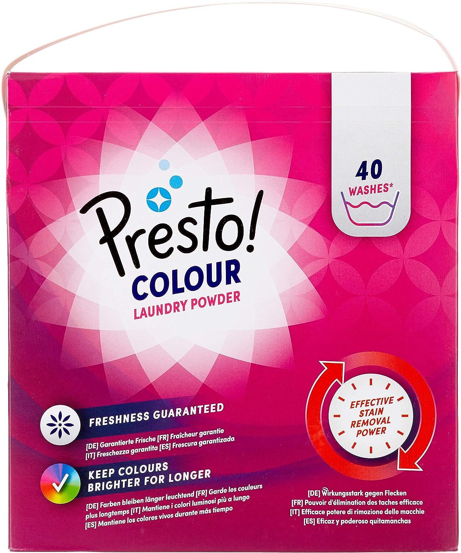 Marca Amazon - Presto! Detergente color en polvo, 120 lavados (3 Packs, 40 cada uno)