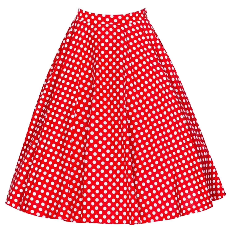 Killreal Women's Rockabilly Vintage Style Polka Dot Print Christmas Party Skirt Red Small