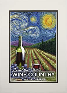 product image for Santa Ynez Valley, California - Wine Country - Vineyard - Starry Night 102070 (11x14 Double-Matted Art Print, Wall Decor Ready to Frame)