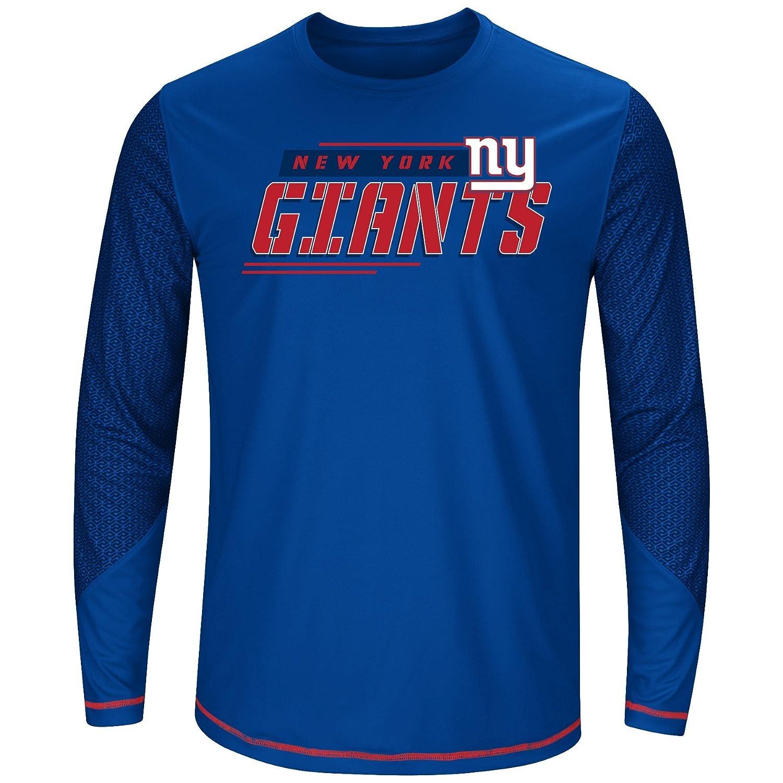 NFL New York Giants Men L//S POLY TEE GEO-HEX XLT ROYAL//RED