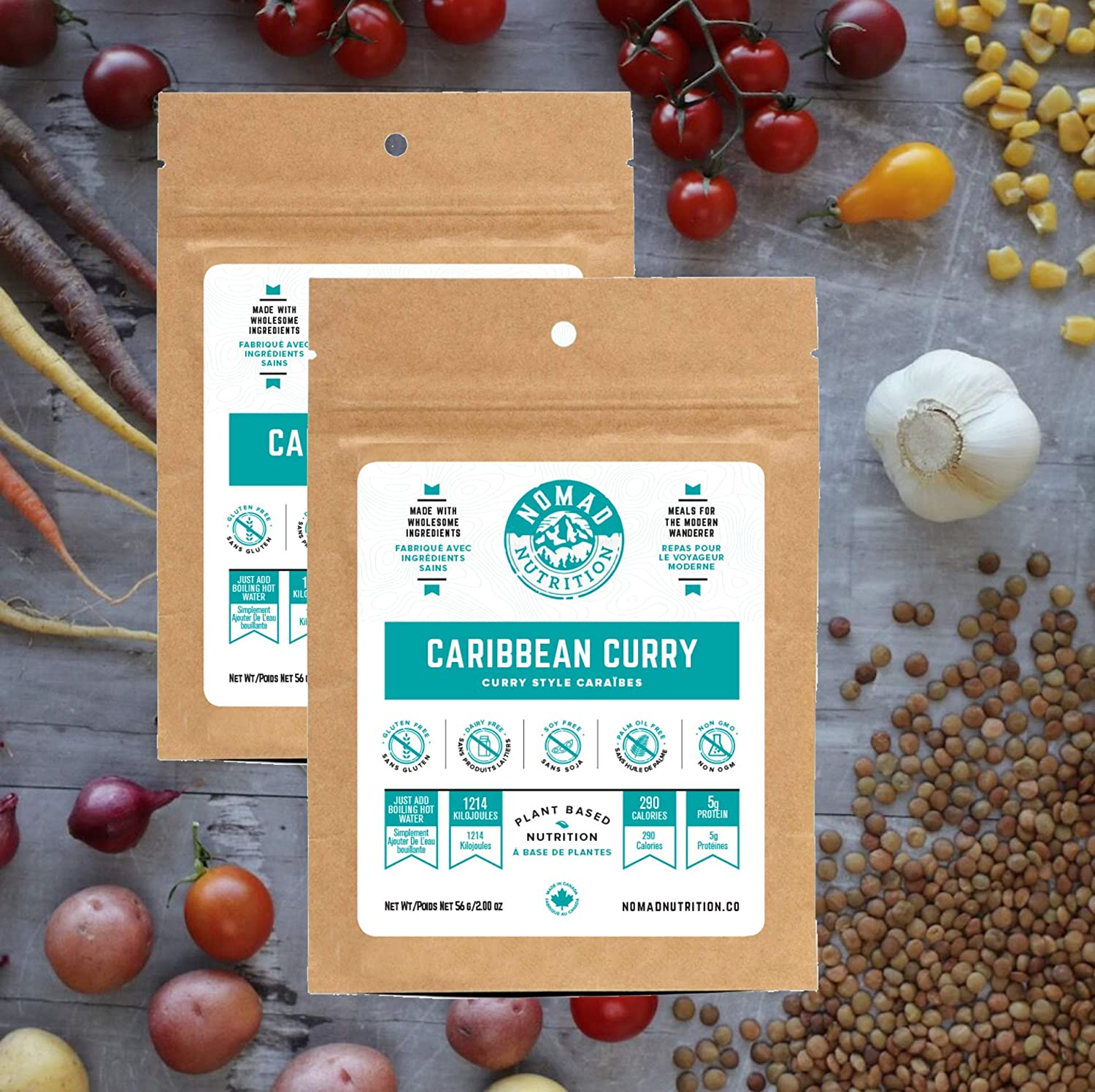 Nomad Nutrition Caribbean Curry - Plant Based, Protein Packed, Nutritious dehydrated Meal for Camping, Travel, Adventure on The go - 2 oz (2 Pack)