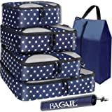 BAGAIL 6 Set Packing Cubes,Travel Luggage Packing Organizers with Laundry Bag (Navy Dot)