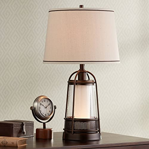 Hugh Industrial Table Lamp with Nightlight Bronze Metal Seeded Glass Off White Drum Shade for Living Room Family – Franklin Iron Works