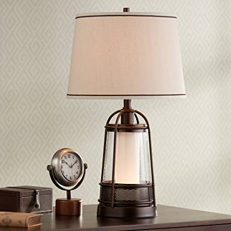 Hugh Industrial Table Lamp With Nightlight Bronze Metal Seeded Glass Off White Drum Shade For Living Room Family Franklin Iron Works